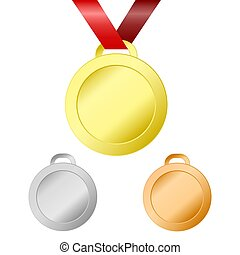 Gold, silver and bronze medals for winners with red ribbon, stock vector illustration, eps 10
