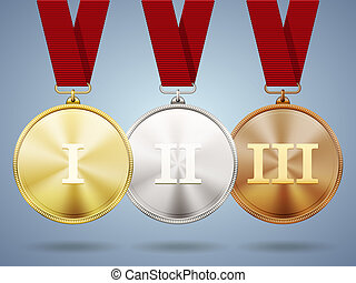 Gold silver and bronze medals on ribbons with shiny metallic...