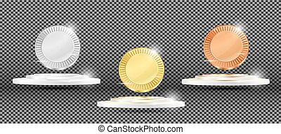 Gold, Silver and Bronze Medals on Transparent Background.