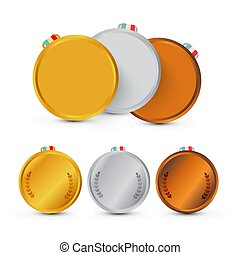 Gold, Silver and Bronze Medals. Vector Awards Isolated on White Background.