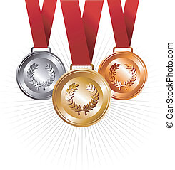 Gold, silver and bronze medals with ribbon