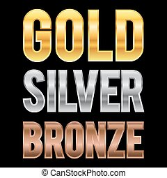 Gold Silver And Bronze Metallic Letters