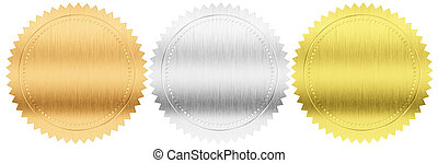 gold, silver and bronze seals or medals set isolated with...