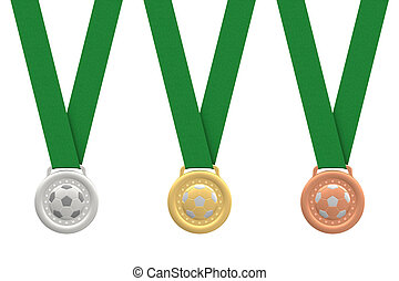 Gold, silver and bronze soccer medals with green ribbons on...
