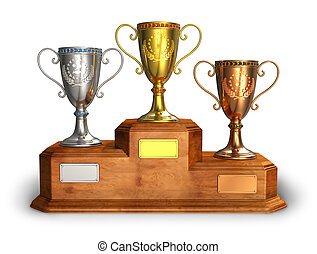 Gold, silver and bronze trophy cups on pedestal