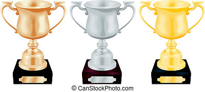 Gold Silver and Bronze Trophy Cups Vector Illustration
