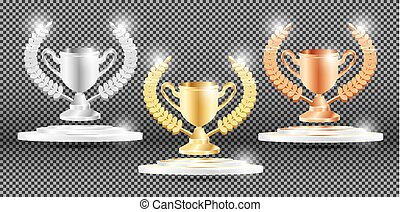 Gold, Silver and Bronze Trophy with Laurel Wreath.