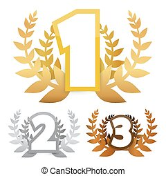 Gold - Silver and Bronze Vector Awards Symbols