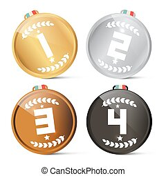 Gold Silver Bronze and Black - First Second Third and Fourth Vector Medals Set Isolated on White Background