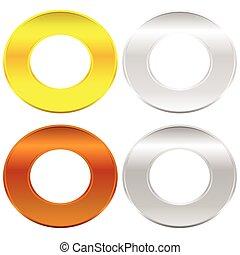 Gold, silver, bronze and platinum badges / butotns