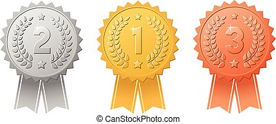 Gold, silver, bronze award badges with color ribbons vector...