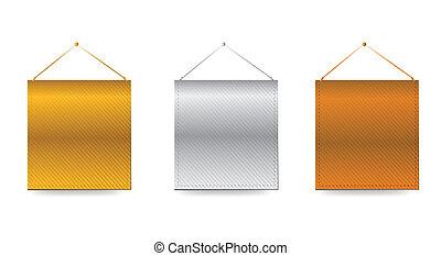 Gold, Silver, Bronze baners illustration