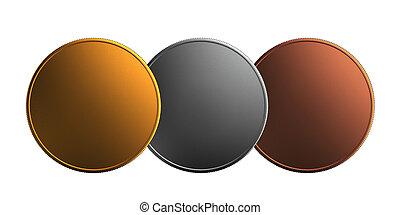Gold silver bronze coin overlap