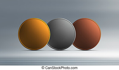 Gold silver bronze coins overlap background