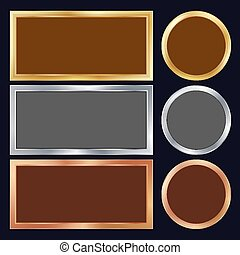 Gold, Silver, Bronze, Copper Metal Frames Vector. Rectangular, Round. Realistic Metallic Plates Illustration