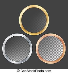 Gold, Silver, Bronze, Copper Metal Frames Vector. Round. Realistic Metallic Plates Illustration