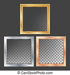 Gold, Silver, Bronze, Copper Metal Frames Vector. Square. Realistic Metallic Plates Illustration