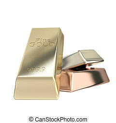 Gold, silver, bronze group of bars