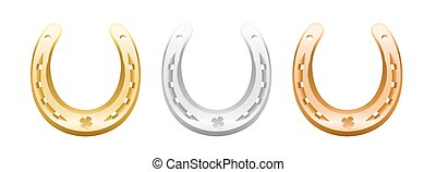 Gold, silver and bronze horseshoe with cloverleaf icon.