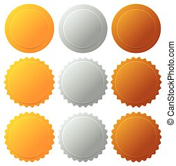 Gold silver bronze medals, badges. Vector graphics.