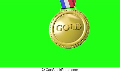 Gold Silver Bronze Medals on Green