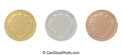 Gold, silver, bronze medals set