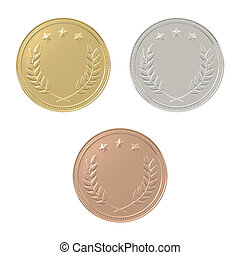 Gold, silver, bronze medals set
