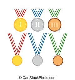 Gold, silver, bronze medals with ribbon set isolated on white background.