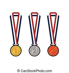 gold, silver, bronze medals with ribbons flat design vector illustration
