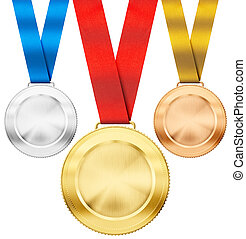 gold, silver, bronze realistic sport medals with ribbon set...