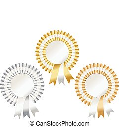 rosettes in gold, silver and bronze to represent first, second and third
