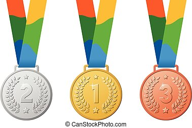 Gold, silver, bronze medals. Brazil colors ribbon. First, second, third place on Rio summer games.