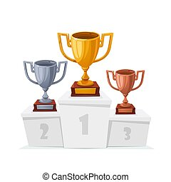Gold, silver, bronze trophy cups. Winner goblet on podium....
