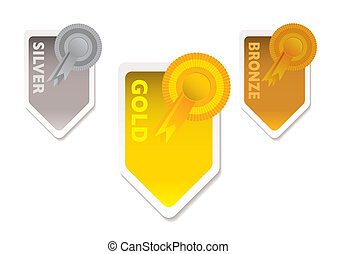 Gold silver bronze - Gold silver and bronze ribbons with...