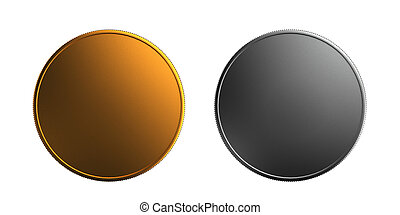 Gold silver coin font and back grey