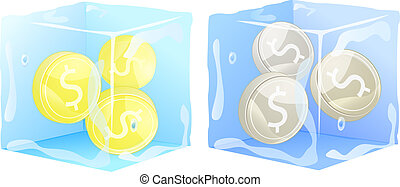 gold silver coins frozen in ice cube. money
