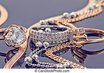 Gold, silver rings and chains