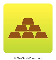 Gold simple sign. Vector. Brown icon at green-yellow gradient square with rounded corners on white background. Isolated.