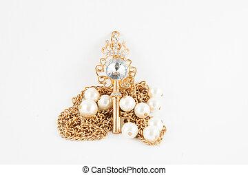 Gold Skeleton Key isolated on white background