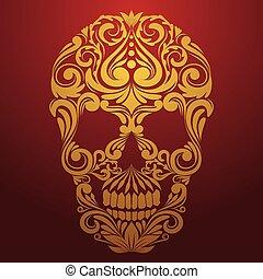 gold skull ornamental