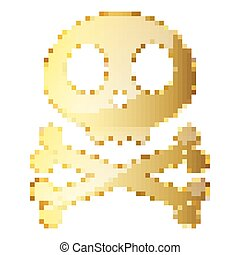 Gold Skull with cross bones in pixel art style. Vector illustration
