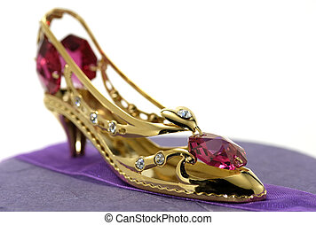 Gold Slipper with Gems