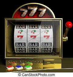 Gold slot fruit machine with 777 and cherries winning