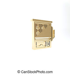 Gold Slot machine icon isolated on white background. 3d illustration 3D render