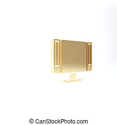 Gold Smart Tv icon isolated on white background. Television sign. 3d illustration 3D render