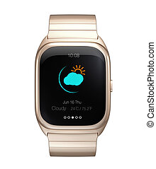 Gold smart watch display climate information.