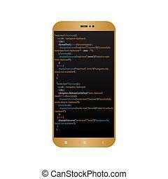 Gold smartphone coding, programming concept. Vector illustration.