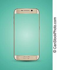 Gold smartphone mockups transparent screen. Vector ...
