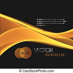 Smooth wave stream line abstract header layout. - Gold...