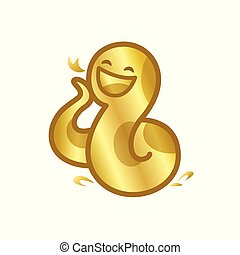 gold snake cartoon character cute isolated on white background, beautiful snake cartoon characters cute, clip art snake golden lovely and funny, clipart snake mascot cartoon gold color